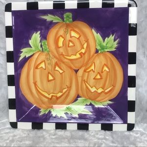 Other - Handpainted Ceramic Halloween Pumpkin Serving Tray
